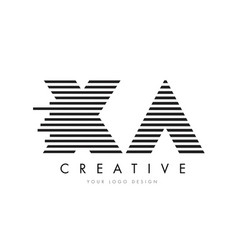 Xa x a zebra letter logo design with black and vector