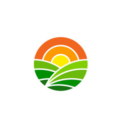 Yellow farm logo icon design vector