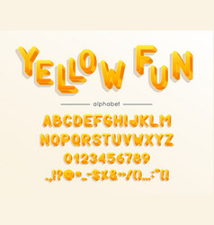 yellow fun font and alphabet type vector image