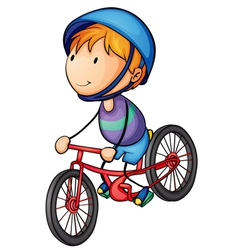 a boy riding on a bicycle vector image vector image