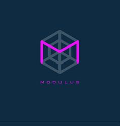 modulus logo m monogram m letter vector image vector image