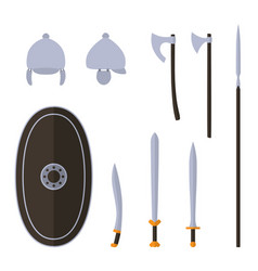 set of ancient celtic weapon and protective vector image