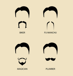 simple graphic of men facial hair types vector image vector image