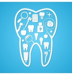Tooth hygiene and threatment symbols vector image