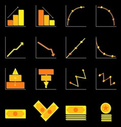 Graph and money color icons on black background vector image vector image