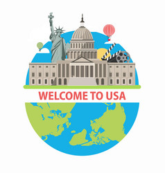welcome to usa travel poster for america tourism vector image vector image