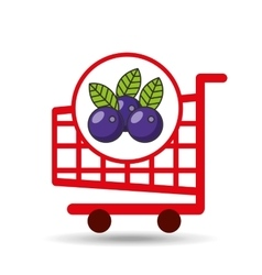 cart shopping fruit plum icon graphic vector image