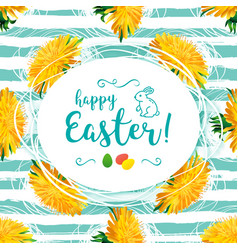 Happy easter greeting card yellow vector
