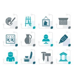 stylized fine art objects icons vector image vector image