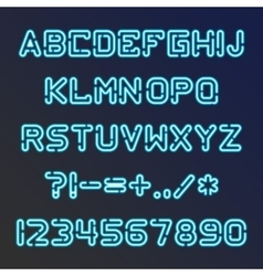 Blue neon font vector image vector image