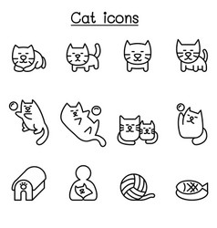 cat icon set in thin line style vector image vector image