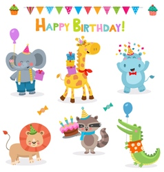 Cute Birthday Animal Collection vector image
