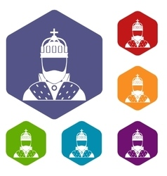 King icons set vector image