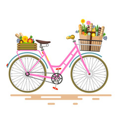 pink bicycle - bike with flowers and vegetables vector image