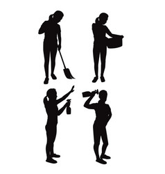 Silhouettes housewives vector