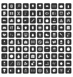 100 apple icons set black vector