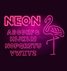 80 s purple neon retro font and flamingo vector image