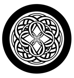Abstract circle with entwined tracery in tribal vector