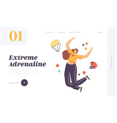Adrenaline sport parachutist extreme landing page vector