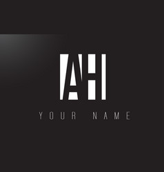ah letter logo with black and white negative vector image