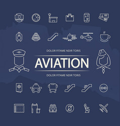 aviation outline icons collection vector image