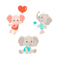 Baelephant cartoon characters set vector
