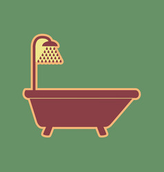Bathtub sign cordovan icon and mellow vector