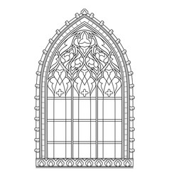Beautiful medieval stained glass window in french vector