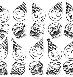 birthday cupcake and emoji wink love happy pattern vector image