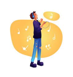 Boy listening music flat vector