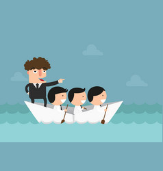 businessmen rowing the boat teamwork success vector image