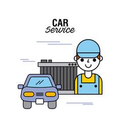 car service people mechanical support motor vector image