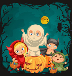 cartoon children in mystery costumes vector image