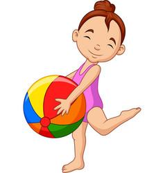 Cartoon happy girl holding a beach ball vector