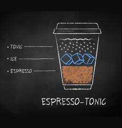 chalk drawn espresso tonic coffee recipe vector image