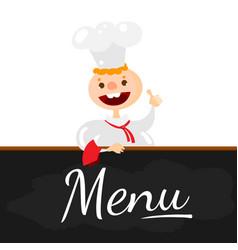 chef character at menu blackboard vector image
