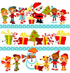 christmas background with set kids vector image