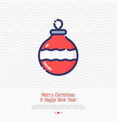 christmas red ball thin line icon vector image