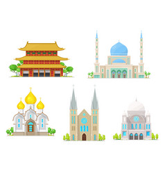 church pagoda temple cathedral and mosque vector image