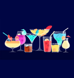 cocktails alcoholic and non-alcoholic drinks bar vector image