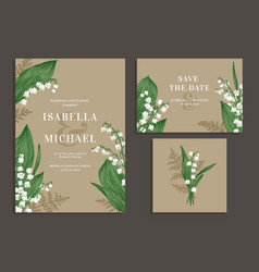 Collection of cards with flowers vector