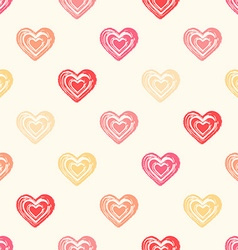 Color seamless grunge hearts pattern vector image