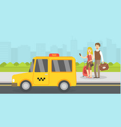 couple tourists with luggage called taxi by vector image