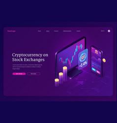 Cryptocurrency exchange market isometric landing vector