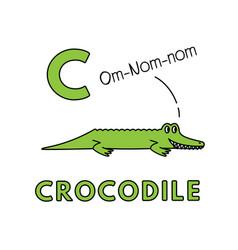 Cute cartoon animals alphabet crocodile vector