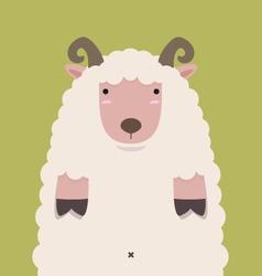 Cute fat big brown horn sheep vector