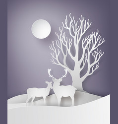 deer couple standing together in a field of snow vector image
