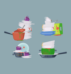 Dirty dish kitchen restaurant items for cleaning vector