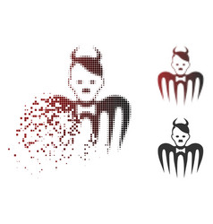 Dissolving dot halftone hitler spectre devil icon vector