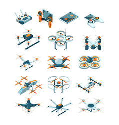 Drones isometric aircraft future modern vector